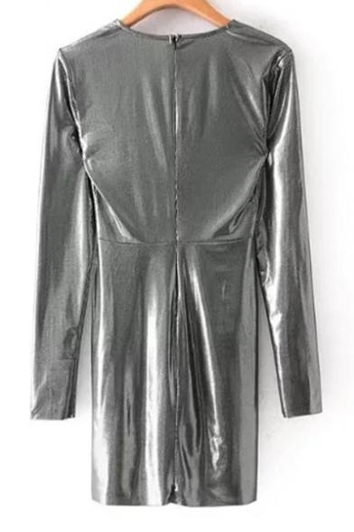 Sexy Plunge Neck Long Sleeve Gathered Waist Polka Dot Print Mini Dress