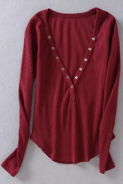 cab6f72ca0de ... Sexy V-Neck Button Front Long Sleeves Slim-Fit High Low Hem Ribbed Tee  ...