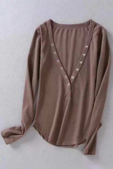 Neck Sleeves Ribbed Low Tee Hem Slim Button Top Long High Front V Sexy Fit Txq6n55Aa