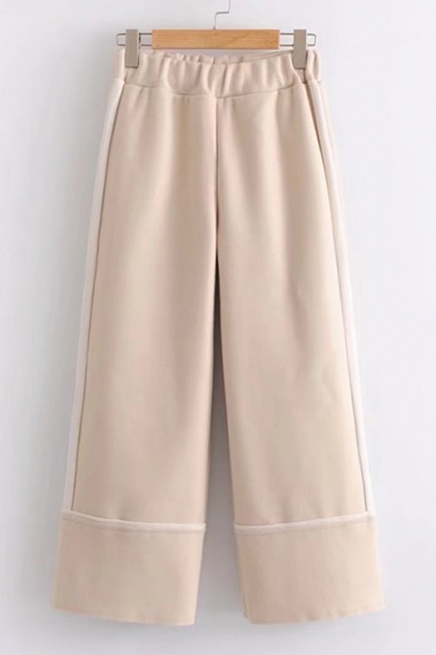 Simple Contrast Striped Elastic Waist Wide Leg Pants
