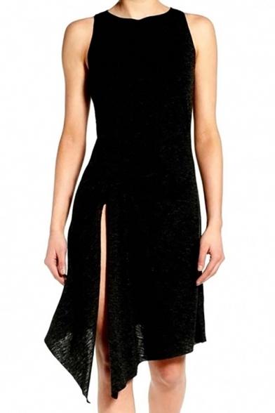 Simple Plain Split Side Asymmetric Hem Sleeveless Midi Dress