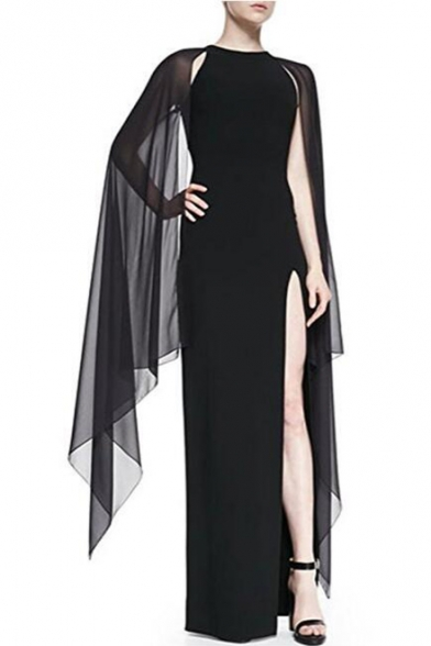 Simple Plain Split Side Lace Panel Round Neck Sleeveless Pencil Maxi Dress