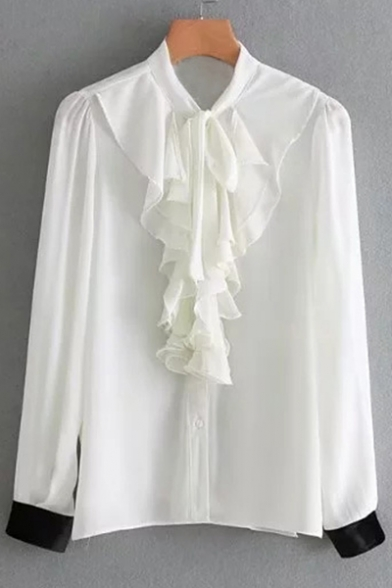 Trendy Ruffly Front Button Down 3/4 Sleeves Contrast Cuffs Stand-up Collar Blouse