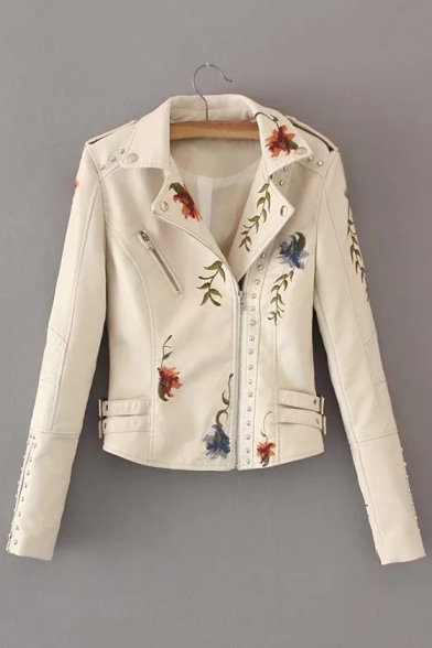 Jacket Zippered Fashion Women's Cool Notched Biker Embellished Lapel Embroidered Floral Rivet 8vwpx8qB