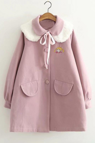 Adorable Girl Cartoon Embroidery Faux Fur Peter Pan Collar Buttons Balloon Sleeves Bow Coat with Flap-Pockets