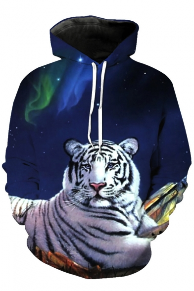 Adorable White Tiger Galaxy Printed Long Sleeves Pullover Hoodie with Pocket
