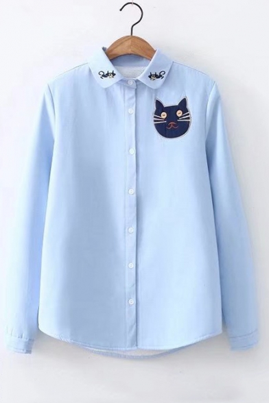 Casual Cat Embroidered Collared Button-Down Long Sleeves Fur-Padded Shirt