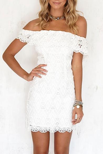 Chic Plain Off The Shoulder Floral Lace Up Short Sleeve Pencil Mini Dress