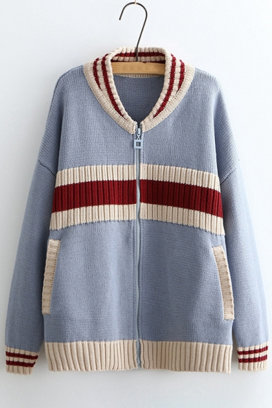 Color Block Striped Print Stand-Up Collar Dropped Shoulder Zipper Cardigan
