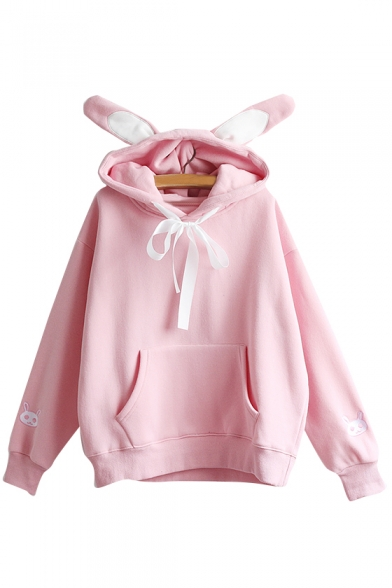 Cute Rabbit Pattern Long Sleeve Pocket Hoodie with Rabbit Ear Hood