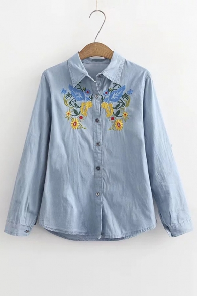 Collar Button Down Shirt Long Embroidered Bird Floral Sleeves Point Ethic qISHtwYnxq