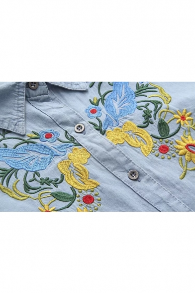 Long Ethic Down Point Shirt Floral Embroidered Button Collar Bird Sleeves xqnAqfUH