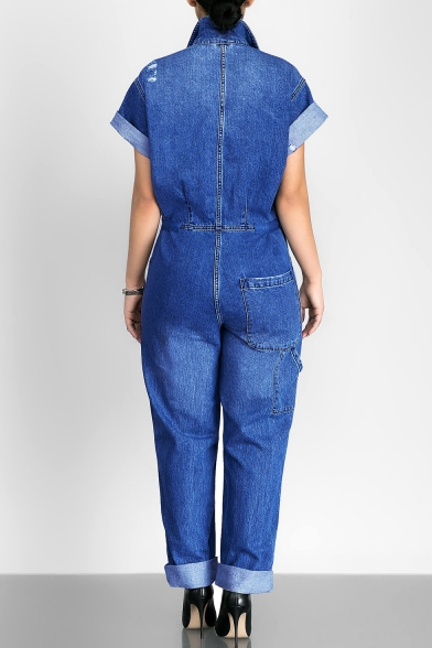 Fashion Simple Plain Lapel Buttons Down Short Sleeve Denim Jumpsuit