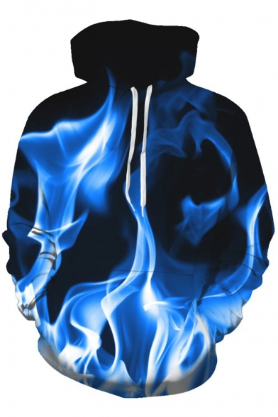 Fashionable 3D with Hoodie Pocket Sleeve Leisure Fire Long Print rH4qCfrw