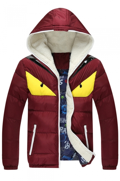 New Arrival Fashionable Color Block Zippered Long Sleeve Hooded Padded Coat