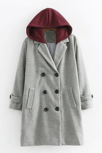 New Fashion Contrast Hooded Long Sleeve Double Breasted Trench Coat