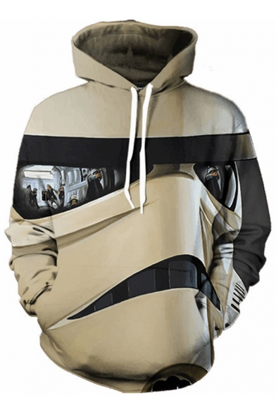 New Stylish 3D Print Long Sleeve Drawstring Hood Pocket Hoodie