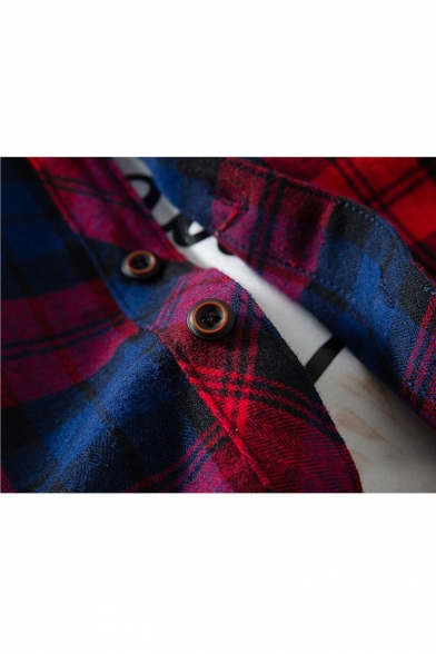 Letter Number Long Collar Shirt Fashion Point School Button Down Plaids Sleeves Old Tartan afqA4xtwn1