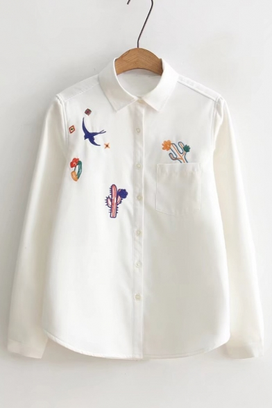 Simple Cactus Embroidered Point Collar Long Sleeves Button Down Shirt with Pocket