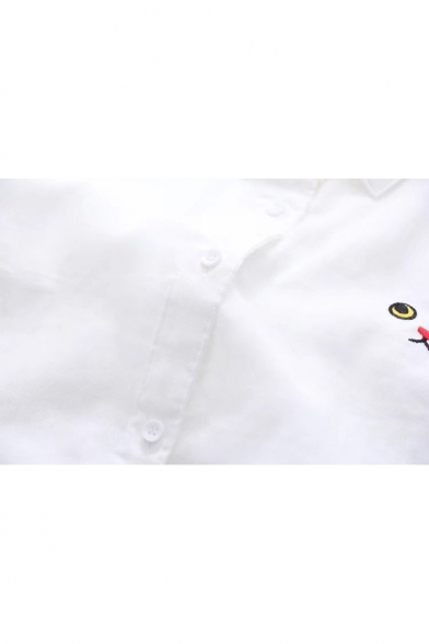 Collar Long Face Simple Down Shirt Sleeves Button Point Embroidery Cat Un6nwgqH