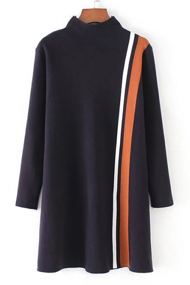 Simple Collared Color Block Long Sleeve Knit Mini Dress