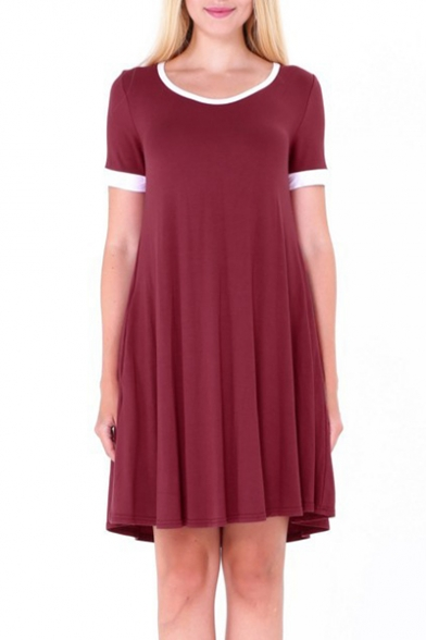 Simple Contrast Trim Round Neck Short Sleeve T-shirt Mini Dress