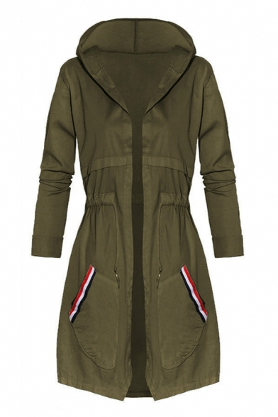 Simple Open Front Drawstring Waist Long Sleeves Hooded Longline Parka with Striped Pockets