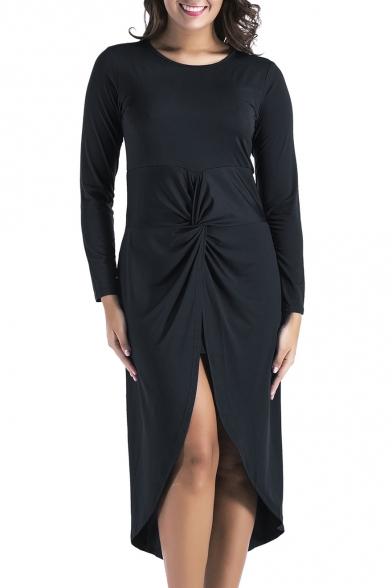 Simple Plain Round Neck Long Sleeves Twist-Front Split Back Tulip Hem Midi Asymmetrical Dress