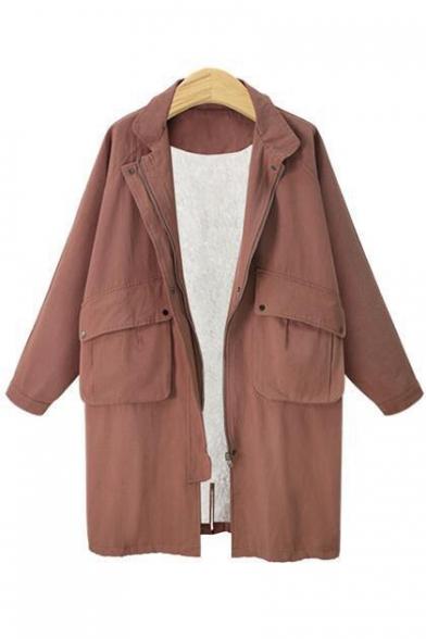 Simple Plain Zipper Long Sleeve Lapel Tunic Windproof Coat with Flap Pocket