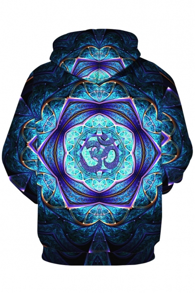 Stylish Sleeves with Pullover Long Pocket Printed Kaleidoscope Hoodie BxUqrC1Bwc