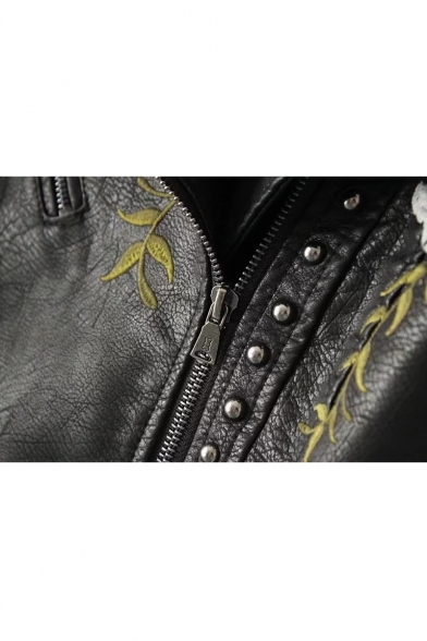 Floral Jacket Lapel Fashion Cool Notched Embroidered Embellished Rivet Women's Zippered Biker 5vqnxRwpp