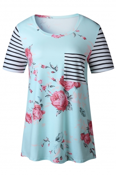Women's Floral Print Striped Round Neck Short Sleeve Tunic Tee