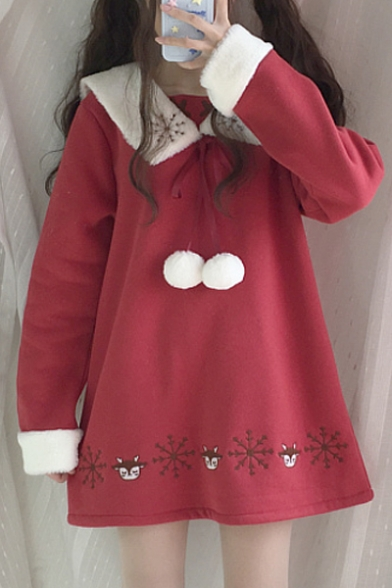 Adorable Deer Snowflake Embroidery Lapel Pom Pom Detail Long Sleeve Mini Swing Dress