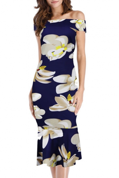 Chic Floral Print Off Shoulder Short Sleeve Fishtail Dress