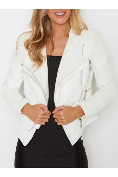 Fancy Plain Lapel Long Sleeves Patchwork Zippered PU Biker Jacket with Pockets