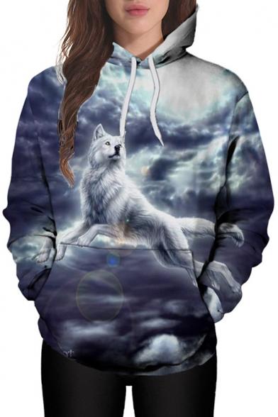 Men Women Wolf Galaxy Star Sky Printing Hoodie Sweatshirt Hoodies Jumper Outwear