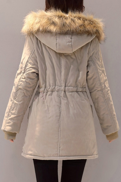 Fashion Badge Embellished Faux Fur Hem Hooded Long Sleeve Zip Up Coat