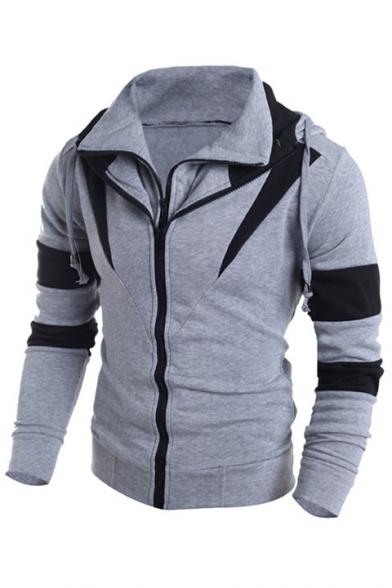 Sleeve Print Long Hoodie Color Block Zipper Double Fashion 8qEtIww