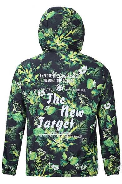 Hooded Zipper Coat Fashion Waterproof Sleeve Windproof Print Long tqIUS