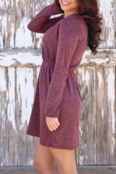 Fashion Simple Plain V-Neck Long Sleeve Wrap T-shirt Mini Dress