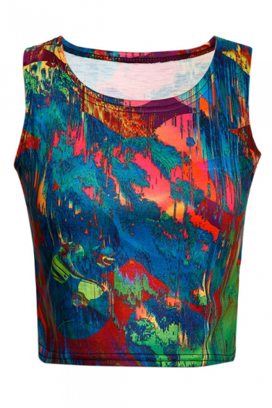 Fashionable Colorful Oil-Painting Round Neck Sleeveless Cropped Tank Top