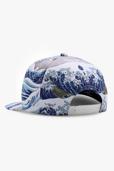Japanese Style Wave Spoondrift Spray Printed Baseball Hat Cap