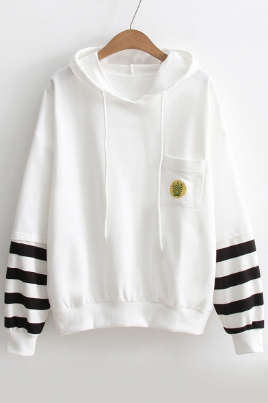Leisure Striped Print Drawstring Hood Long Sleeve Hoodie