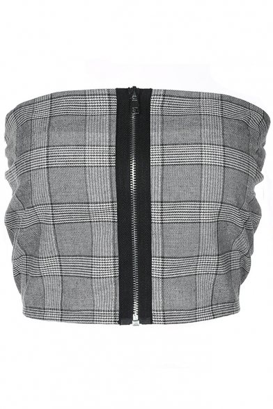New Up Print Zip Fashion Bandeau Classic Plaid rqwarHZ