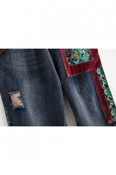 New Stylish Drawstring Waist Ripped Embroidered Pattern Jeans