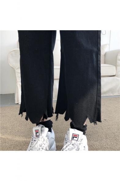 Retro Simple Plain Elastic Waist Frayed Hem Cropped Wide Leg Jeans