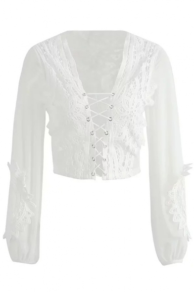 Sexy Lace-Up Front Sheer Back Long Sleeve Lace Cropped Blouse
