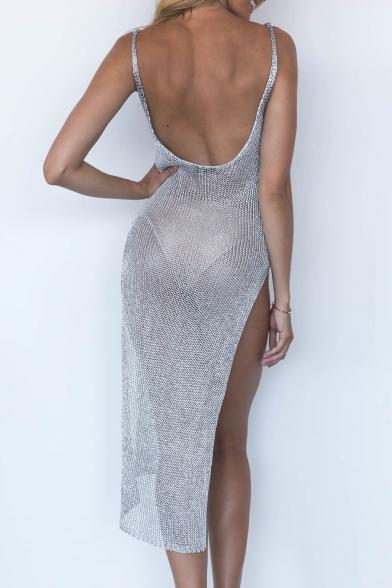 Sexy Spaghetti Straps Low-cut Back Split Side Asymmetrical Hem Slim-Fit Midi Cami Dress