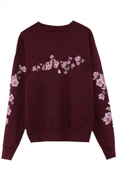 Pullover Casual Neck Pattern Long Round Simple Floral Sleeves Sweatshirt 6nYZwfgq