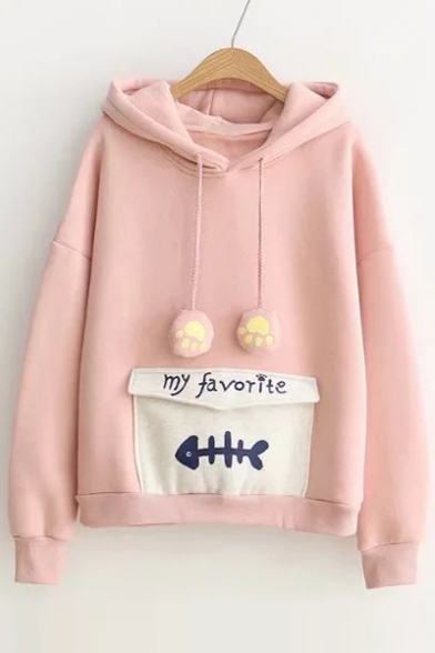 Simple Letter Fish Bone Printed Pullover Hoodie with Envelope Pocket & Paws Drawstring